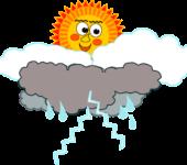 trovoada, chuva, sol